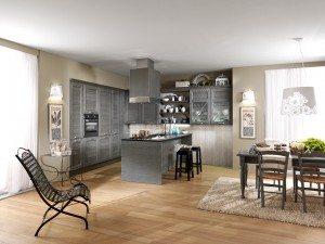 cucina moderna in legno spazzolato