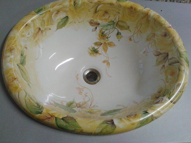 lavello decorato a mano su richiesta