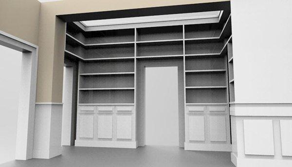 Immagine della libreria da realizzare in corridoio