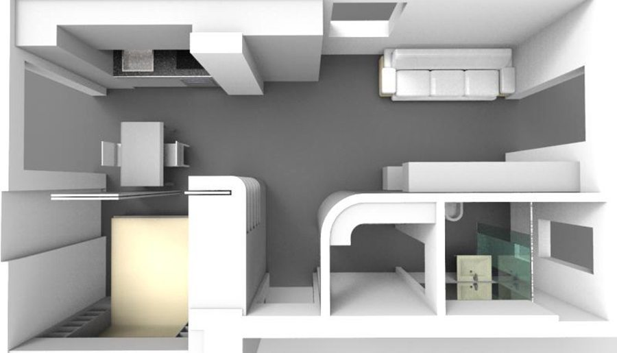 La nuova distribuzione dell'appartamento con il nostro progetto completo di arredamento in falegnameria Milano