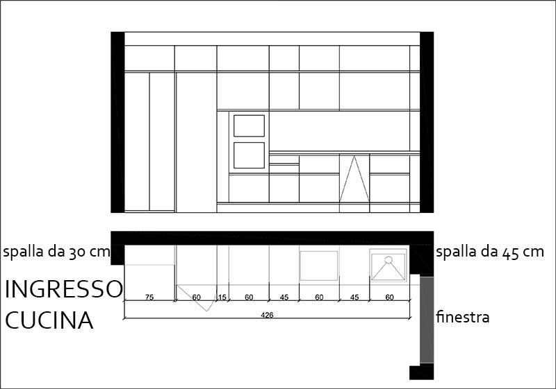 Cucina con spalla partenza 29 cm tra porta finestra - Porta finestra in pianta ...