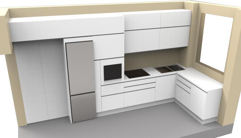 La cucina inserita in una parete tra due spalle in muratura più corte rispetto alle basi dei mobili