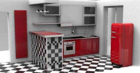 Cucina penisola rivestita di piastrelle creo casa milano cucine