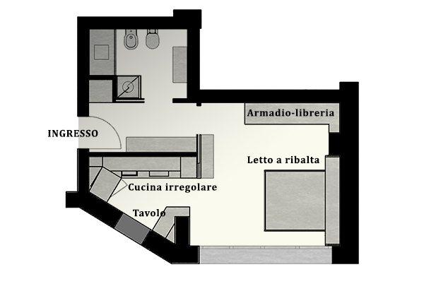Disposizione mobili per pianta irregolare da Creocasa: progetti, cucine