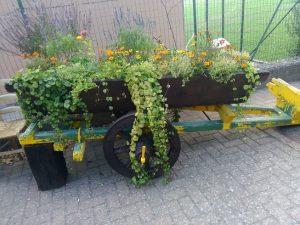 Arredare aree e giardini con materiale di riciclo ( carretto in legno)